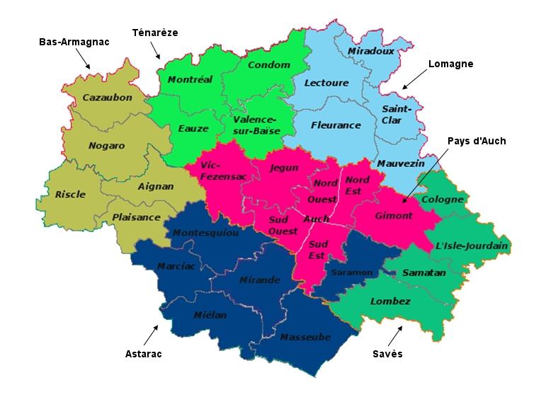 Carte des territoires du Gers en Gascogne