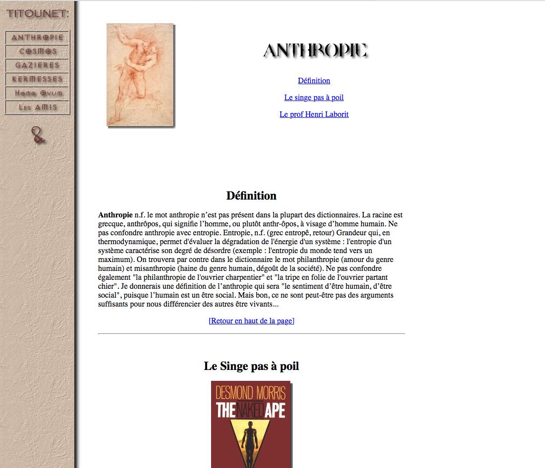 Page Anthropie sur titou.net 1.0 en juillet 1996