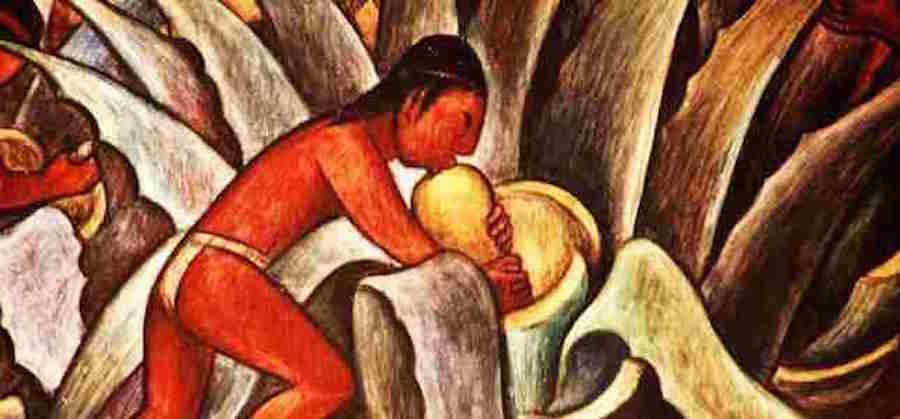 Tableau d'un Astèque embrassant le Mezcal