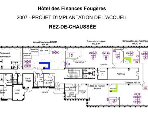 Plan 2D d'aménagement d'un étage dans un hôtel des finances