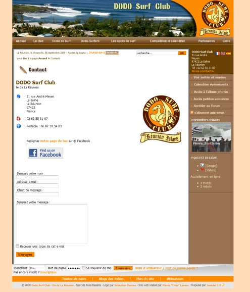 Contact Form Exemple Joomla! DODO Surf Club
