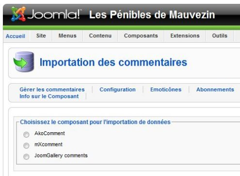 JComments Import panel in Joomla! Admin