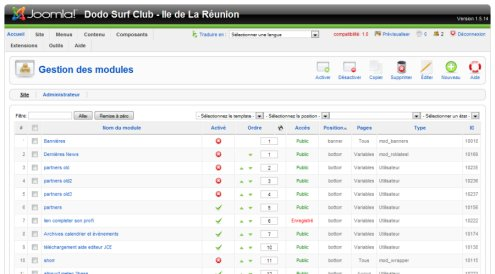 Modul panel in Joomla! Admin screenshot