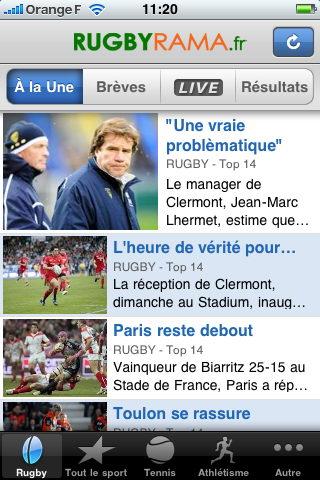Rugbyrama in Eurosport iPhone iOS app