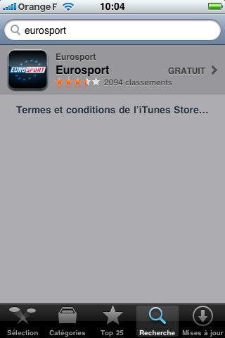 Eurosport iPhone app 1