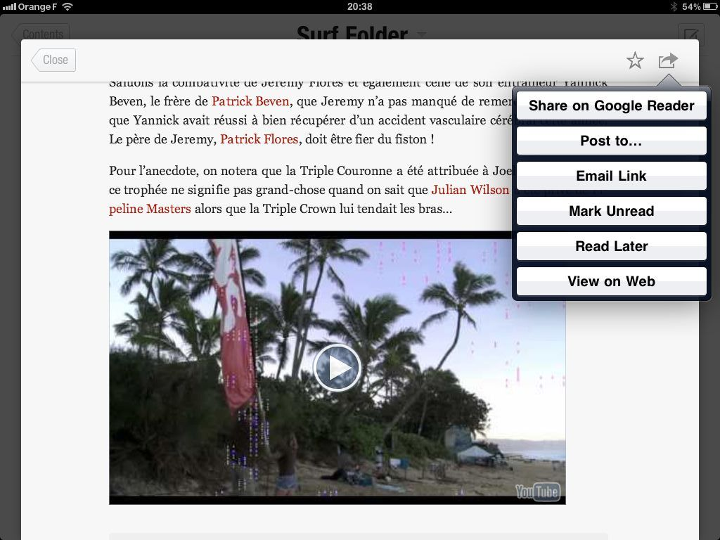 Flipboard iPad app share