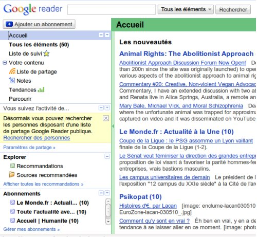 Google Reader web page