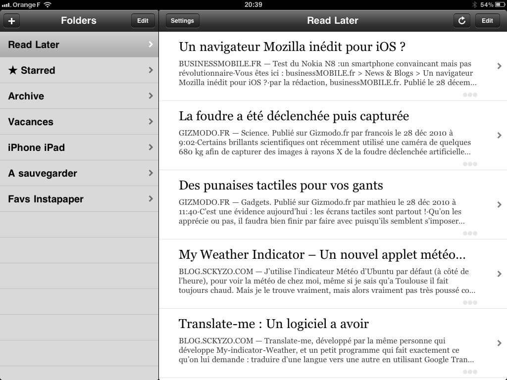 liste d'article application Instapaper pour iPad