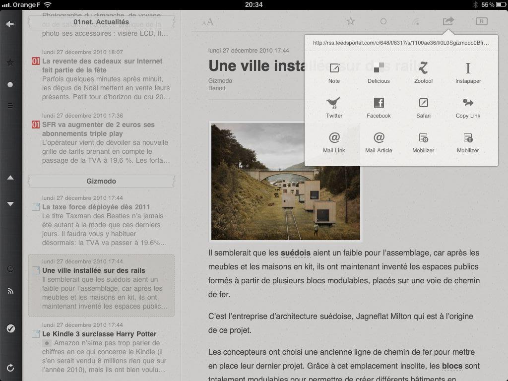 Fonction de partage et de envoi d'articles dans Reeder pour iPad