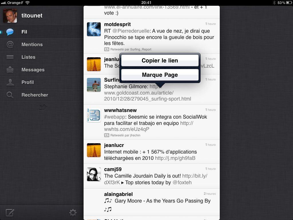 envoi vers Instapaper dans l'application Twitter pour iPad