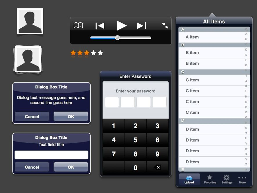 Exemple de bibliothèque de composants graphiques iPad