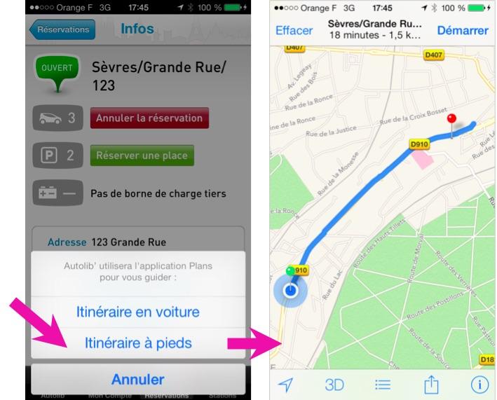 Capture écran illustrant l'activation de l'itinéraire à pieds depuis l'application Autolib sur iPhone