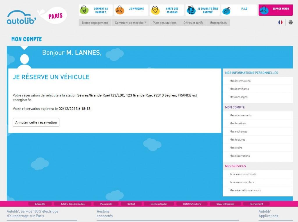 2. Canal : site web sur un ordinateur de bureau. Réservation du véhicule