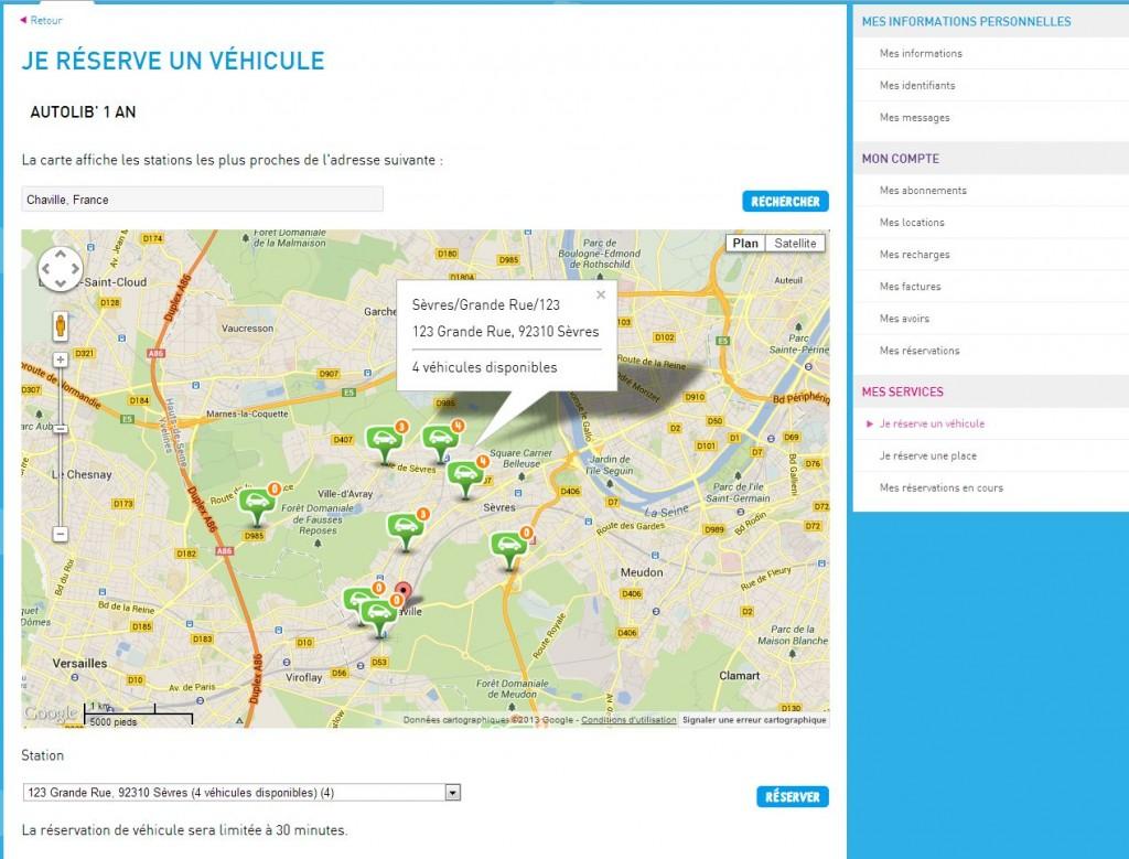 1. Canal : site web sur un ordinateur de bureau. Recherche de véhicule disponible sur une station proche
