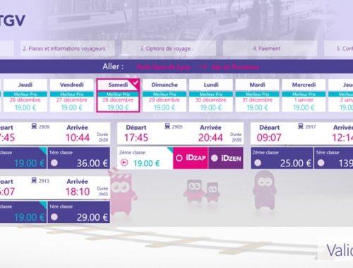 capture écran d'une page de sélection d'un trajet dans l'application iDTGV Windows 8