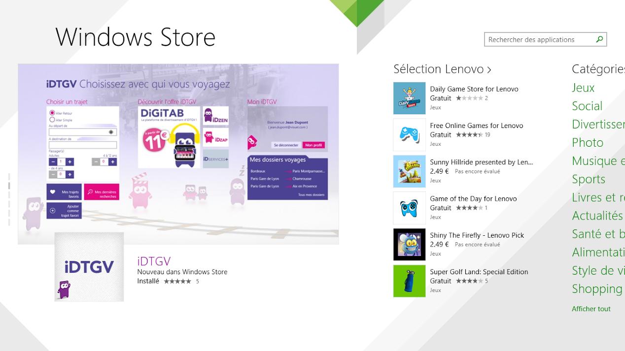 Application iDTGV à la une du store Windows 8