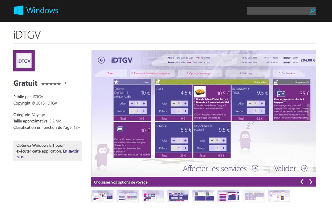 Capture écran de la page de l'application iDTGV sur le store Windows 8