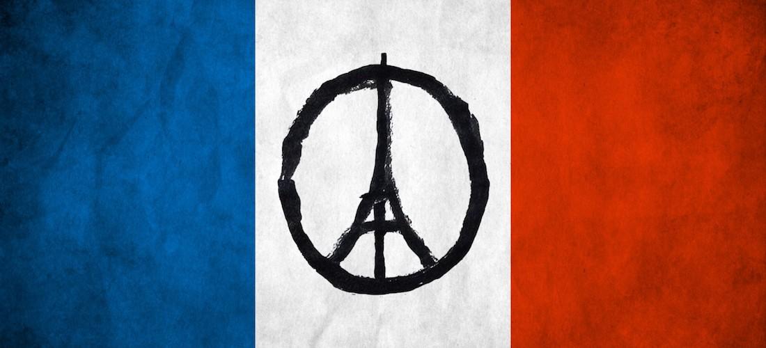 Mélange de symbole pacifiste et Tour Effeil sur fond de drapeau national français